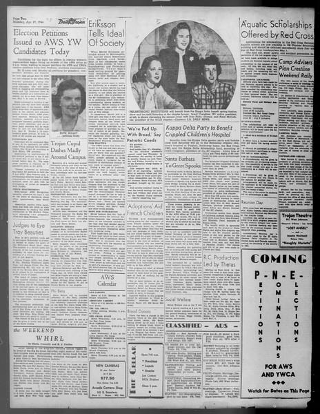 Daily Trojan, Vol. 37, No. 116, April 29, 1946