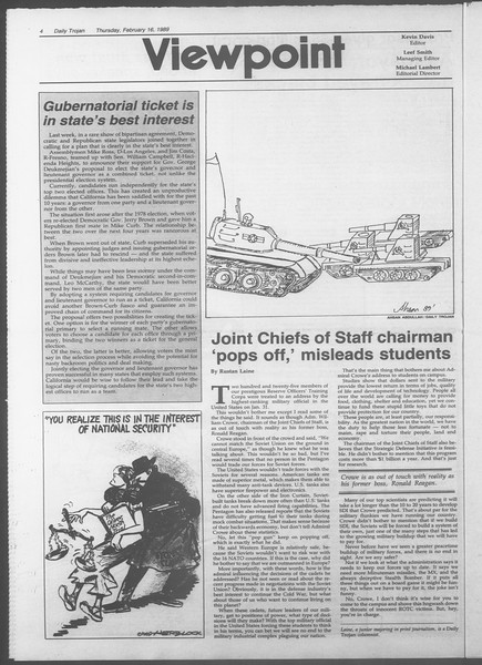 Daily Trojan, Vol. 108, No. 25, February 16, 1989