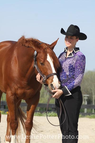 Sorrel American Quarter Horse and Handler Turned Out for Showmanship