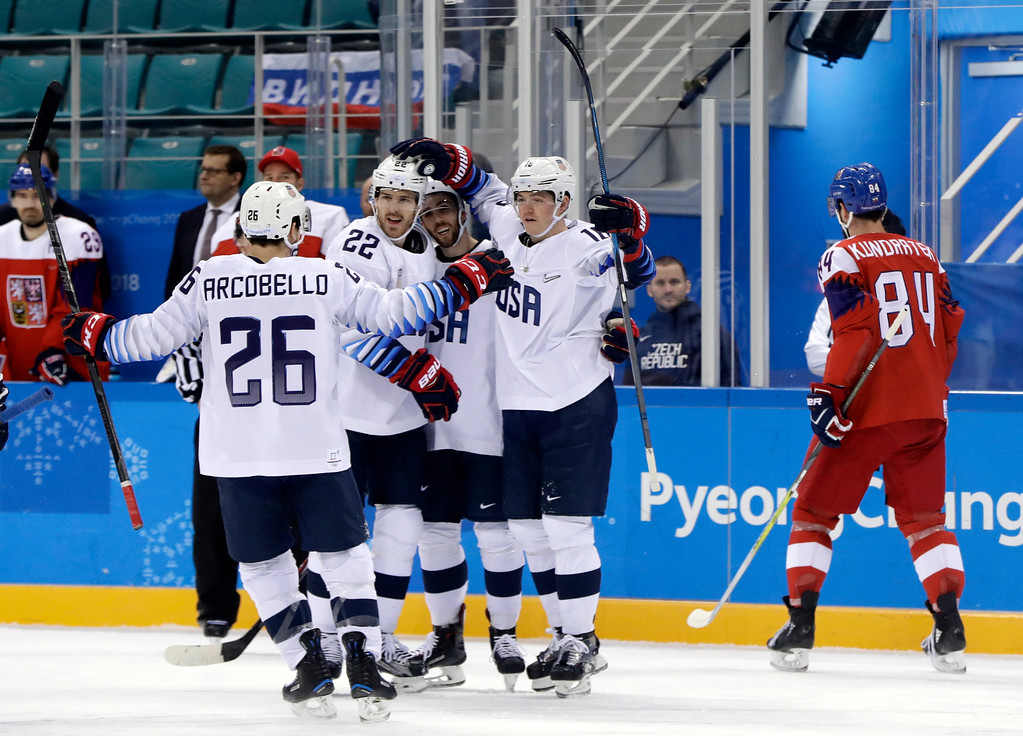 . Ryan Donato (16), of the United States, celebrates with his teammates after scoring a goal against the Czech Republic during the first period of the quarterfinal round of the men\'s hockey game at the 2018 Winter Olympics in Gangneung, South Korea, Wednesday, Feb. 21, 2018. (AP Photo/Matt Slocum)