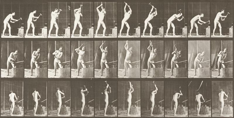 Man in pelvis cloth hammering an anvil (Animal Locomotion, 1887, plate 378)