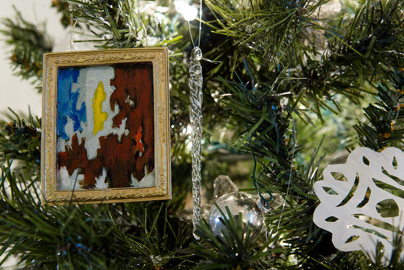 . A miniature evoking the work of the late artist Clyfford Still hangs from one of the trees at the Governor\'s Residence at Boettcher Mansion. Photo by Mark Broste