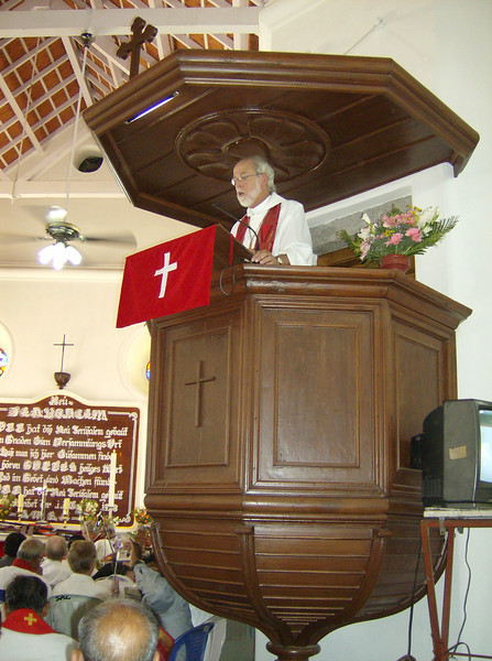The Rev. Mark S. Hanson, ELCA presiding bishop and LWF president, preached during worship July 9 in New Jerusalem Church, Tranquebar Mission, India.