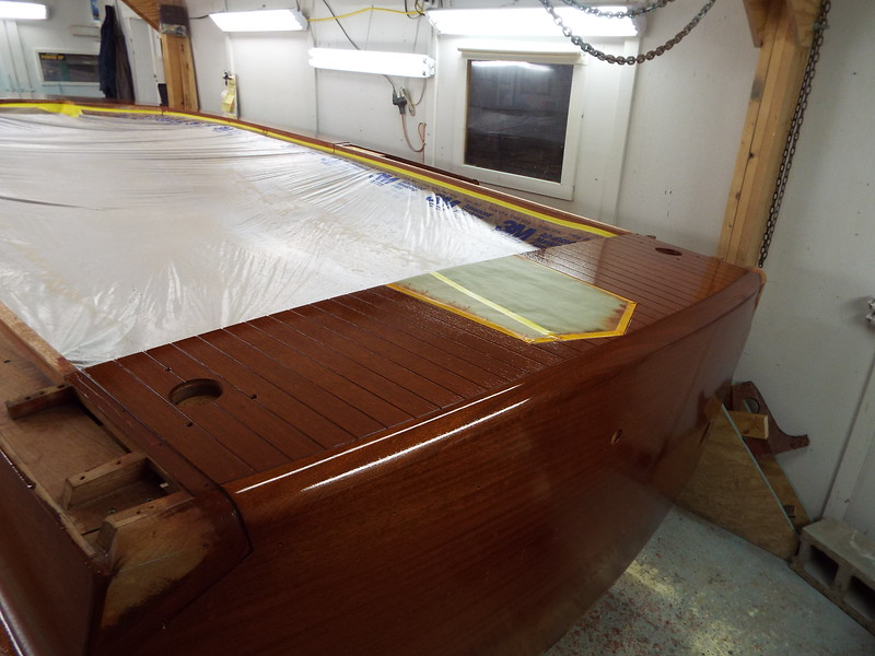 Rear deck with one coat of sealer.