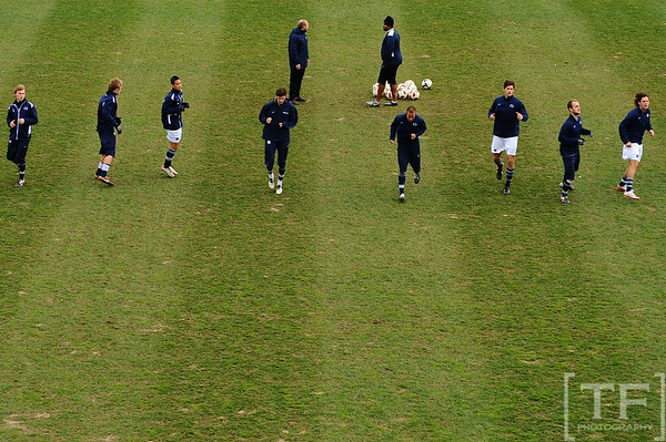 Nov 13, 2011; Ann Arbor, MI, USA; Members of the Penn State Nittany Lions warm up before the facing the Northwestern Wildcats at the final game of the 2011 Big Ten Championship at Michigan Soccer Stadium. Mandatory Credit: Tim Fuller-US PRESSWIRE