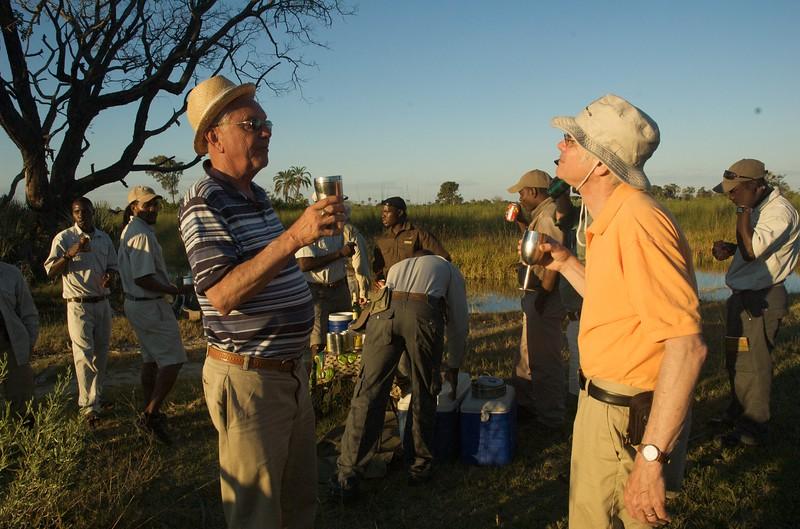 Sundowner in  the Okavango Delta - Leslie Rowley