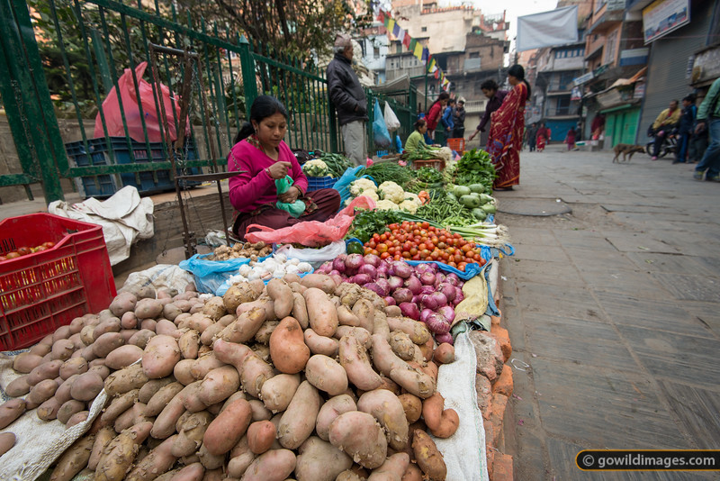 Trinity Chowk. Local food street stalls are common, morning and night