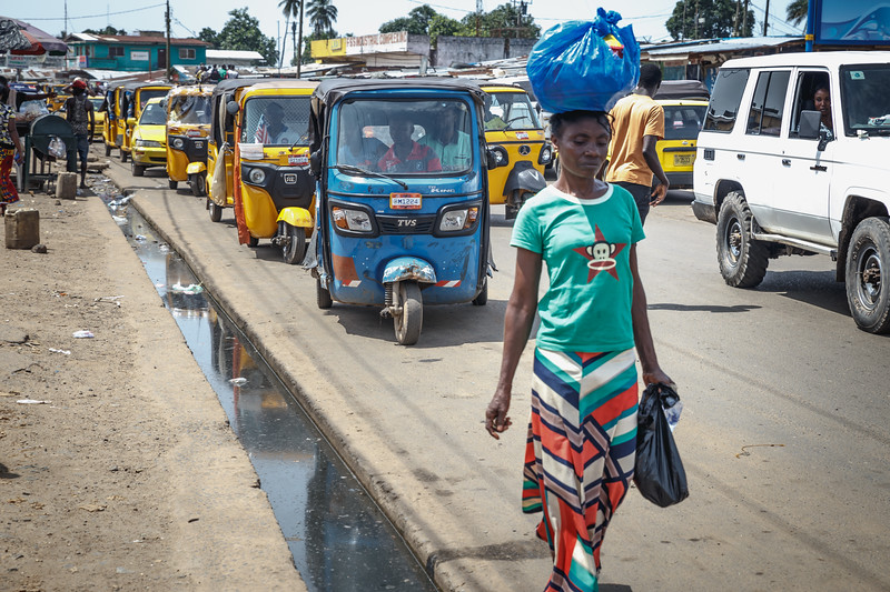 Monrovia, Liberia October 10, 2017 - Street scene.