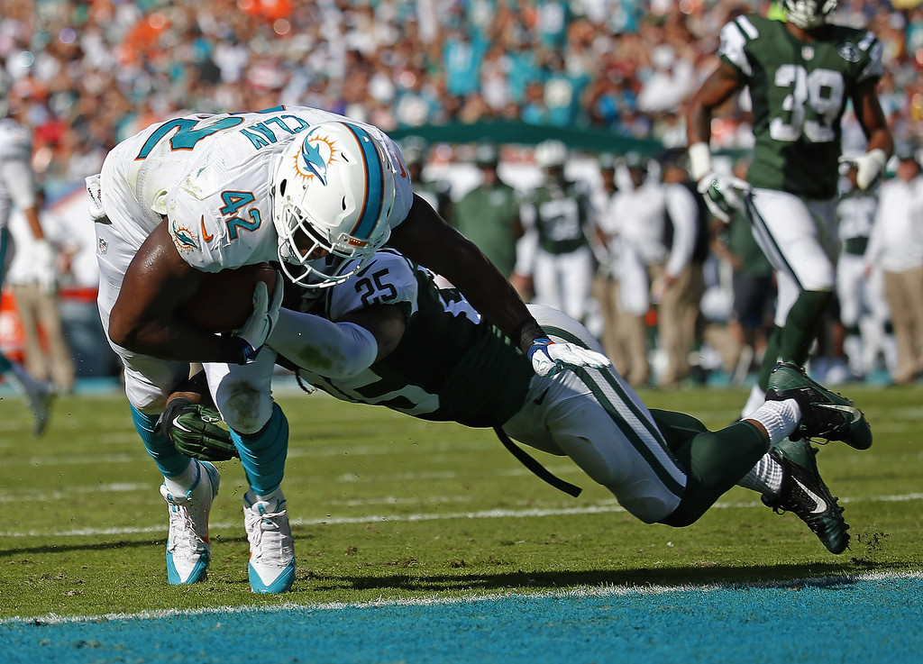 . MIAMI GARDENS, FL - DECEMBER 28:  Tight end Charles Clay #42 of the Miami Dolphins scores a touchdown in the second quarter as free safety Calvin Pryor #25 of the New York Jets defends during a game at Sun Life Stadium on December 28, 2014 in Miami Gardens, Florida.  (Photo by Chris Trotman/Getty Images)