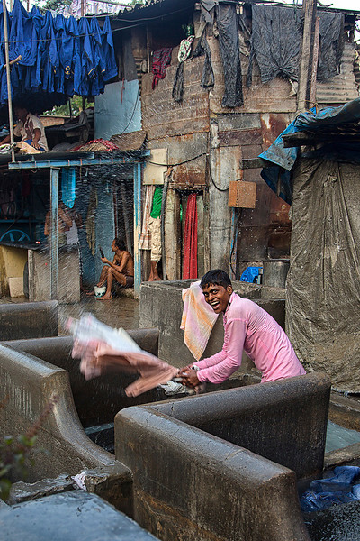 Happy Dhobi Ghat worker