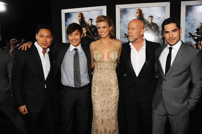 ". Director Jon M. Chu, actors Byung-Hun Lee, Adrianne Palicki, Bruce Willis and D.J. Cotrona attend the premiere of Paramount Pictures\' ""G.I. Joe:Retaliation\"" at TCL Chinese Theatre on March 28, 2013 in Hollywood, California.  (Photo by Kevin Winter/Getty Images)"