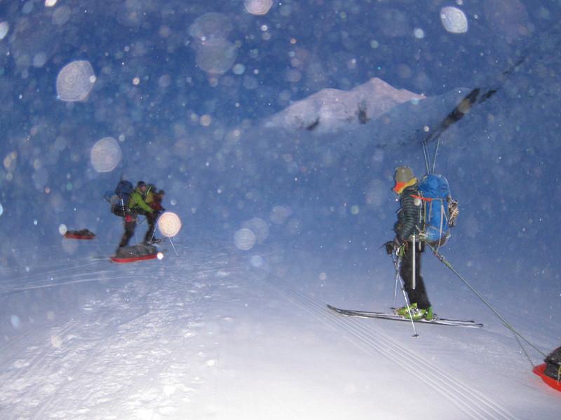 "Skiing in the snowy ""night"". From left: John W, Doug, and John DM."