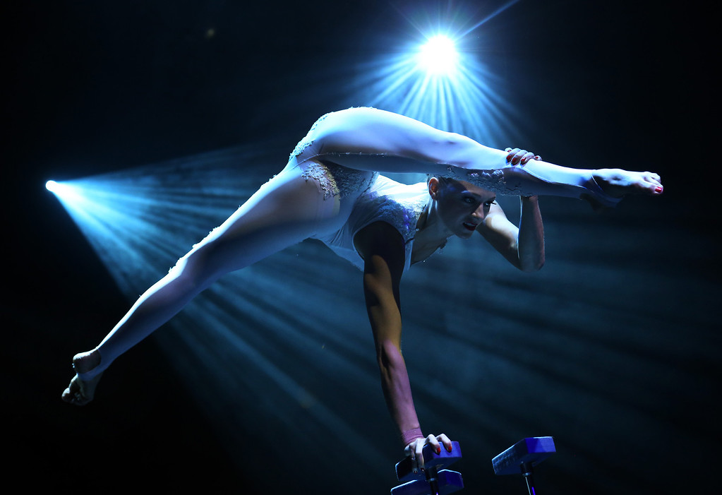 . A member from the production Le Noir performs at the Marina Bay Sands on Tuesday March 12, 2013 in Singapore. Le Noir has a crew of twenty cirque performers from around the world like Russia, Australia, Lithuania, Canada, Bulgaria who specialize in different acrobatic acts, some of which were formerly from the production Cirque du Soleil. (AP Photo/Wong Maye-E)