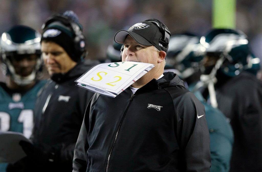 . Philadelphia Eagles head coach Chip Kelly stands on the sideline as a play is being reviewed during the first half of an NFL wild-card playoff football game against the New Orleans Saints, Saturday, Jan. 4, 2014, in Philadelphia. (AP Photo/Michael Perez)