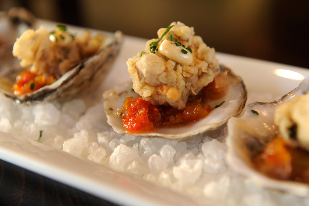 . The Crispy Fried Oysters are served with peppadew pepper relish and Old Bay aioli. Humboldt Restaurant is located at 1700 Humboldt Street where Strings used to be. Humboldt was photographed Thursday, December 5, 2013. Photo By Karl Gehring/The Denver Post