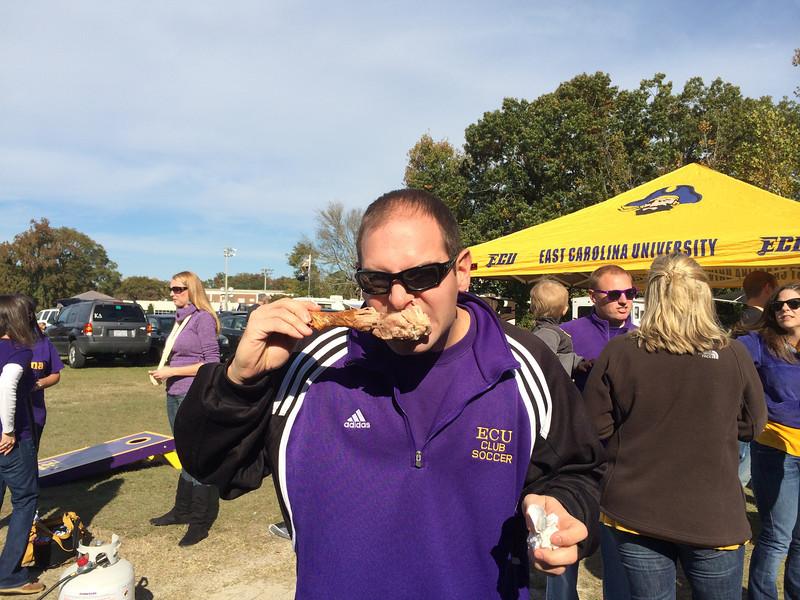 11/9 ECU vs Tulsa  Jon eating turkey leg