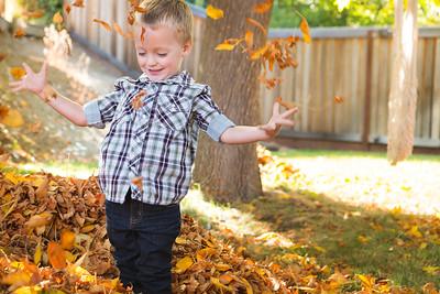 Little Man Fall Leaves
