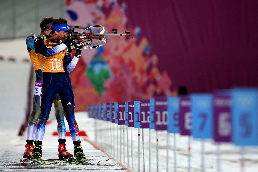 . Sean Doherty of the United States competes during the Men\'s 4 x 7.5 km Relay during day 15 of the Sochi 2014 Winter Olympics at Laura Cross-country Ski & Biathlon Center on February 22, 2014 in Sochi, Russia.  (Photo by Richard Heathcote/Getty Images)