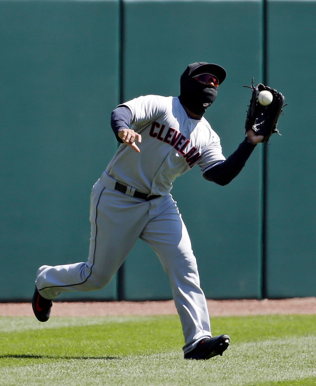 . Cleveland Indians left fielder Jose Ramirez catches a fly ball hit by Chicago White Sox\'s Todd Frazier during the first inning of a baseball game Saturday, April 9, 2016, in Chicago. (AP Photo/Nam Y. Huh)