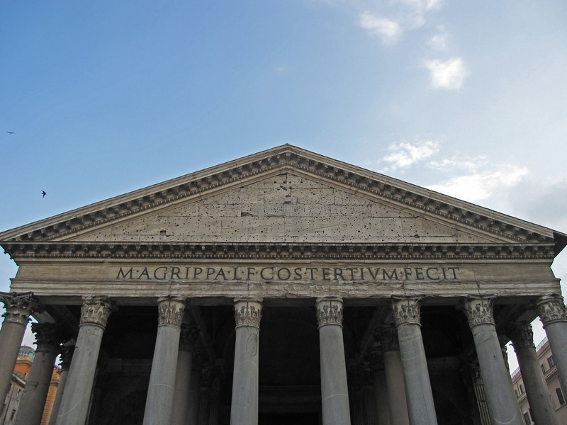 The Pantheon facade in Rome, Italy