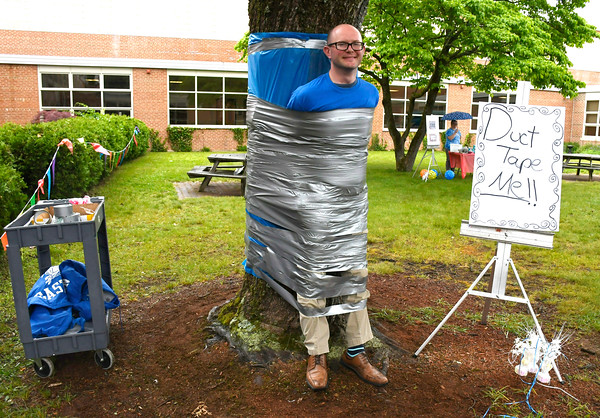6/1/2018 Mike Orazzi | Staff Bristol Eastern High School Assistant Principal Michael Higgins during the SAT fair for juniors on Friday in the school's courtyard.