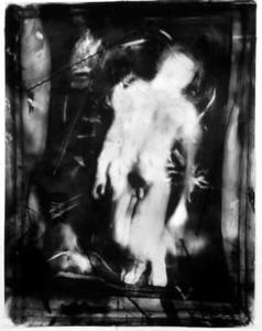 "civilized man, 60"" x 40"" photo mural w/ charcoal & chalk"