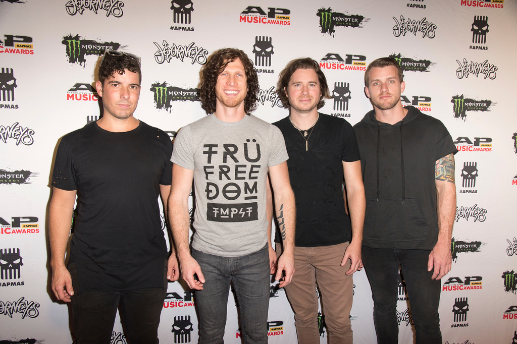 . Daniel Oliver, from lef, Jonny Hawkins, Mark Vollelunga and Paul O\'Brien of Nothing More seen at 2017 Alternative Press Music Awards at the KeyBank State Theatre on Monday, July 17, 2017, in Cleveland. (Photo by Amy Harris/Invision/AP)