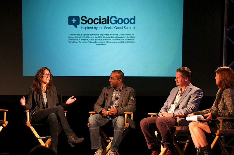 "Panel with Chevenee Reavis of Water.org, Manoj Fenelon of Pepsico, David Rothschild of Skoll Foundation, Brandi Clark Burton ""Chief Inspiration Officer"" of EcoNetworking"