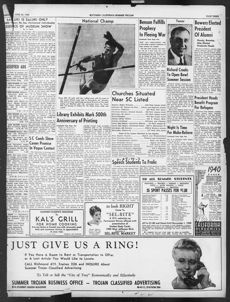 Summer Trojan, Vol. 19, No. 2, June 25, 1940