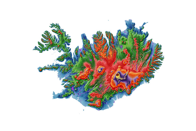 Elevation map of Iceland