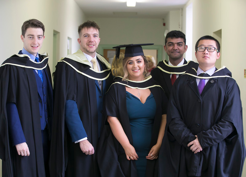 31/10/2018. Waterford Institute of Technology (WIT) Conferring Ceremonies 2018. Pictured are Kieran Joy Dunmore East, Nicholas Cannell Tramore, Carol Dunphy New Ross, Arun Giridhar India and Waterford, Daozhi Zhang China and Waterford . Picture: Patrick Browne