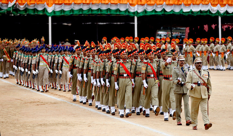 . Contingents of Indian police and paramilitary personnel participate in a parade to mark India\'s Independence Day in Bangalore, India, Thursday, Aug. 15, 2013. (AP Photo/Aijaz Rahi)