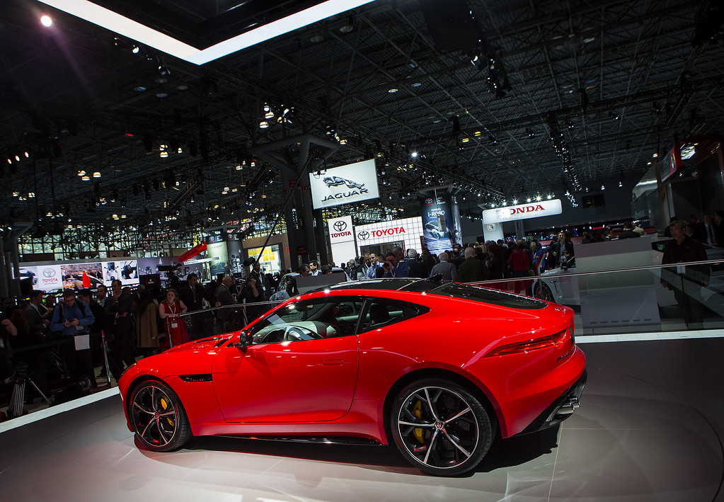 . A Jaguar F Type sports car is seen during a media preview of the 2014 New York International Auto Show April 16, 2014 in New York City. The show opens with a sneak preview to the public April 18 and runs through April 27.  (Photo by Eric Thayer/Getty Images)