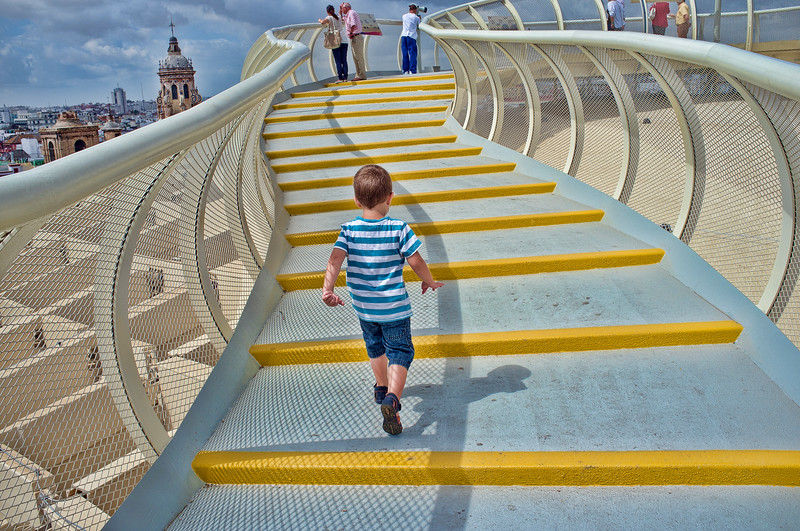 Walkway on the top of Metropol Parasol structure, Seville, Spain
