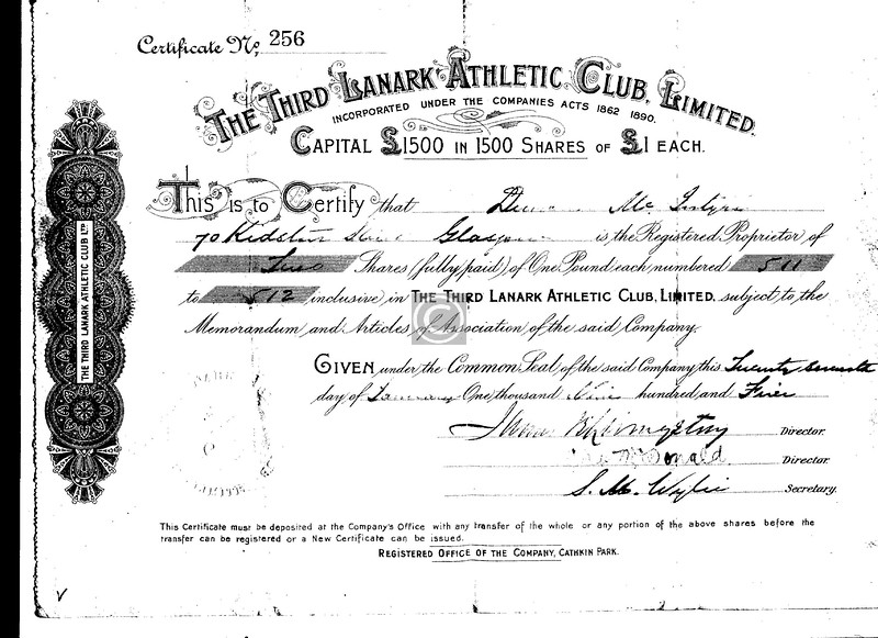 My maternal grandfather subscribed for two £1 shares in Third Lanark A.C. Ltd in 1905. This £2 would have represented more than his weekly wage as a mechanic, and I wonder what my grandmother, a strong woman, had to say about it . . .  Maybe he had saved a few bob from his time working on the Venezuelan state railway, or maybe he had just backed a good winner.