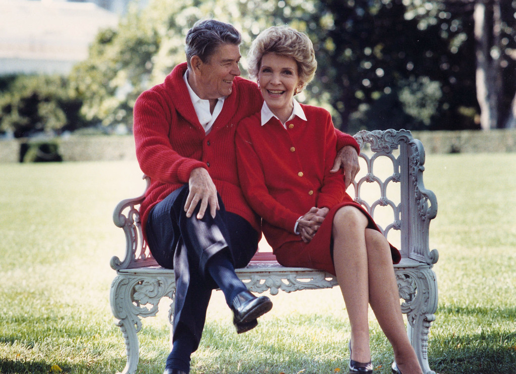 . Former U.S. President Ronald Reagan and First Lady Nancy Reagan share a moment in this undated file photo. The couple celebrated their 50th wedding anniversary on March 4th 2002. (Photo courtesy Ronald Reagan Presidental Library/Getty Images)