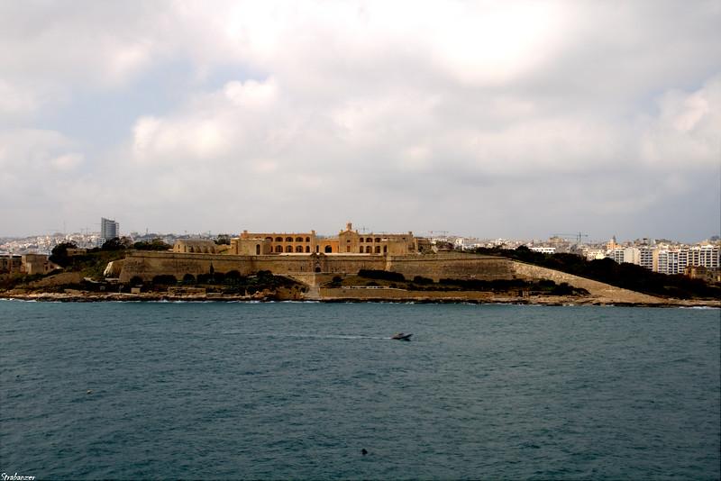 Valletta, Malta.    View across Marsamxett Harbor to Fort Manoel       03/23/2019 This work is licensed under a Creative Commons Attribution- NonCommercial 4.0 International License