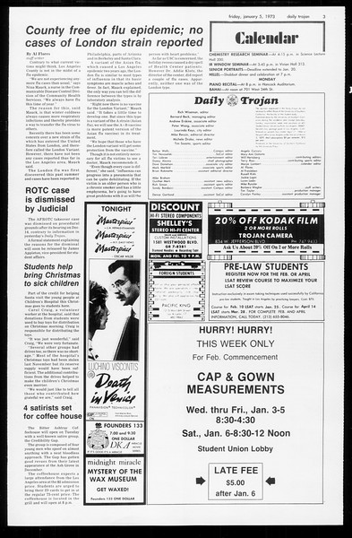 Daily Trojan, Vol. 65, No. 60, January 05, 1973