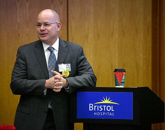 2/12/2019 Mike Orazzi | Staff Bristol Hospital President and CEO Kurt A. Barwis during the Presidents Forum Breakfast Tuesday morning.
