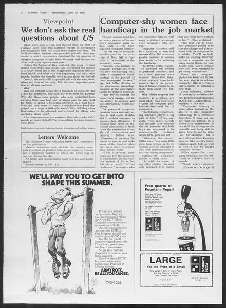 Summer Trojan, Vol. 93, No. 4, June 15, 1983