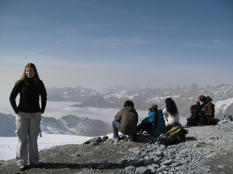 Becky at the top of the Klein Matterhorn.