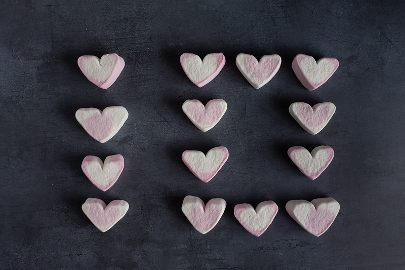 Love heart marshmallows spelling the number ten top view