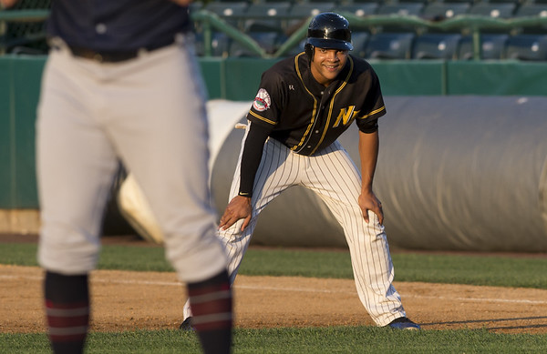 The New Britain Bees defeated the Somerset Patriots 7-6 in the bottom of the 8th on what was scheduled to be a 7 inning first game of a doubleheader. Jared James (11). | Wesley Bunnell | Staff