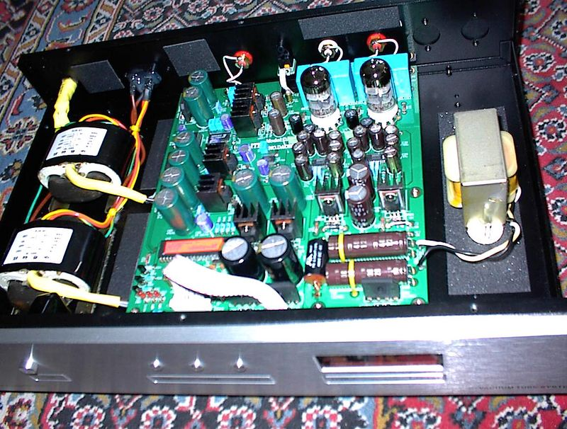 Inside the Lite Audio DAC-60: Two R-core transformers, six separate regulated power supplies, two 24/96 Burr Brown PCM-1704 dac chips (one for each channel), discrete components in the 3rd order filter, EH-6922 tube output stage (no op amps!), choke filtering for the tube analog section high voltage power supply. The DAC-60 is $470 shipping included from http://www.gr-research.com/components/lite_dacs.htm