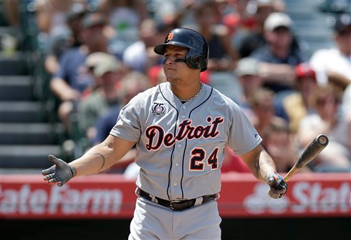 . Detroit Tigers\' Miguel Cabrera reacts after striking out during the sixth inning of a baseball game against the Los Angeles Angels on Sunday, July 27, 2014, in Anaheim, Calif. (AP Photo/Jae C. Hong)