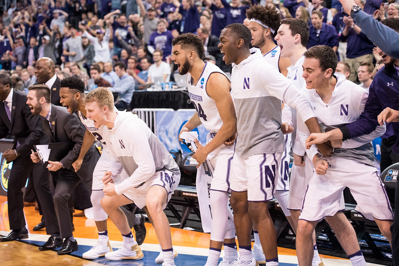 The No. 8 Seed Northwestern Wildcats celebrate as they push to beat the No. 9 Seed Vanderbilt for Northwestern's first-ever NCAA Tournament win on March 16, 2017. | Colin Boyle/The Daily Northwestern