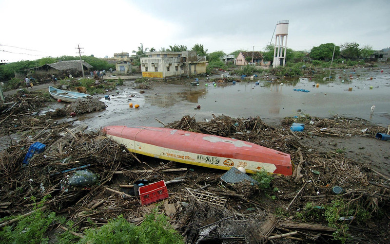 . A view of the devastated Karmavadi village, in the Nagapattinam district some 350 km south of Madras, 27 December 2004, after tidal waves hit the region.  The death toll in southern India from tidal waves that battered much of Asia crossed 6,800 Monday with thousands still missing, officials said. The official count of 6,823 dead included some 3,000 in the Andaman and Nicobar Islands, close to the epicenter of the Indonesian earthquake that caused the tsunamis, and another 3,600 in the southern Indian state of Tamil Nadu and the former French colony of Pondicherry.   PRAKASH SINGH/AFP/Getty Images