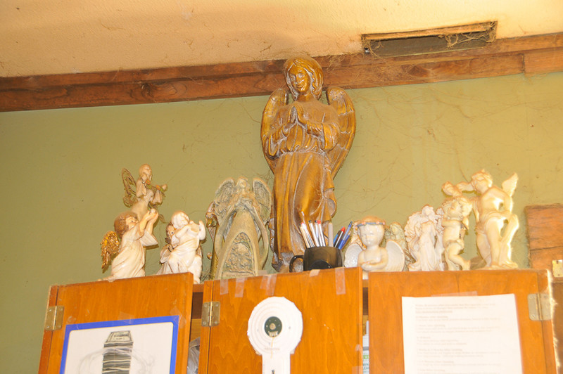 10 09-08 Molly's collection of angels and other Christian relics.  mlj