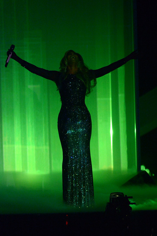 . US recording artist Beyonce performs onstage at the BRIT Awards 2014 at the O2 Arena in London on Wednesday, Feb. 19, 2014. (Photo by Jon Furniss/Invision/AP)
