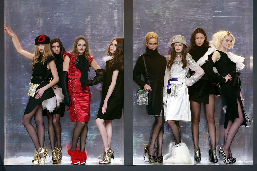. Models showcases designs on the catwalk during the G VILL Mark Cheung Shoes Collection on the second day of Mercedes-Benz China Fashion Week Autumn/Winter 2013/2014 at 751D.Park Tank Zone on March 25, 2013 in Beijing, China.  (Photo by Lintao Zhang/Getty Images)